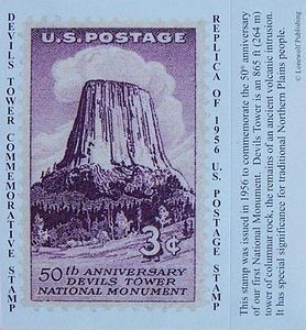 Devils Tower NHA I Devils Tower 1956 Replica Stamp